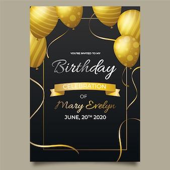 Modelo de cartão de aniversário elegante com balões realistas
