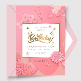 Modelo de cartão de aniversário floral