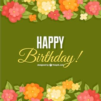 Modelo de cartão de aniversário flores