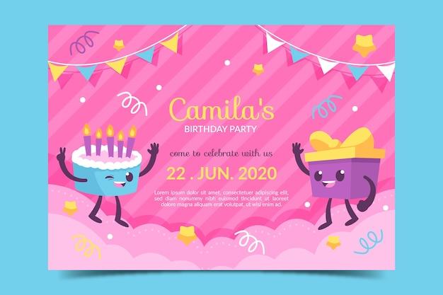 Modelo de cartão de aniversário fofo infantil