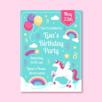 Modelo de cartão de aniversário infantil colorido