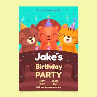 Modelo de cartão de aniversário infantil com animais fofos