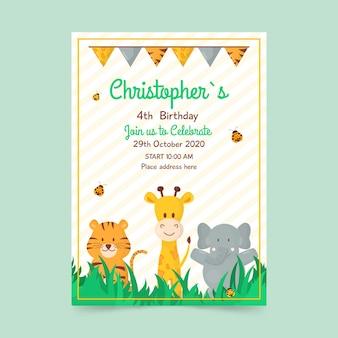 Modelo de cartão de aniversário infantil com animais