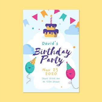 Modelo de cartão de aniversário infantil com bolo e balões