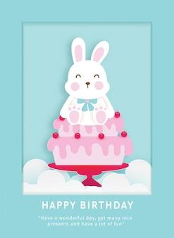 Modelo de cartão de aniversário infantil com coelhinho fofo.