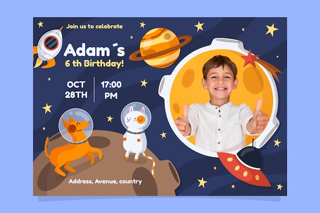 Modelo de cartão de aniversário infantil com espaço e planetas