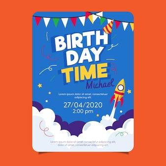 Modelo de cartão de aniversário infantil com foguete