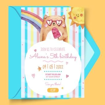Modelo de cartão de aniversário infantil em aquarela