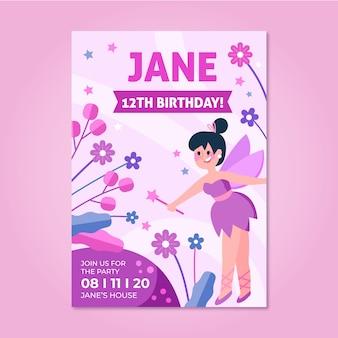 Modelo de cartão de aniversário infantil em design plano