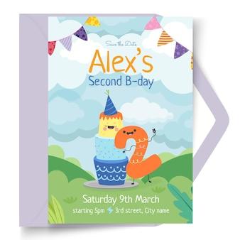 Modelo de cartão de aniversário infantil