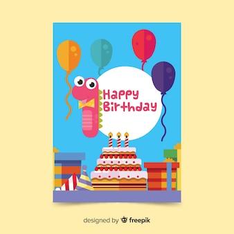 Modelo de cartão de aniversário primeiro número dinossauro