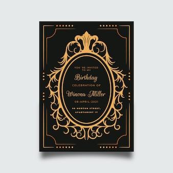 Modelo de cartão de aniversário sofisticado