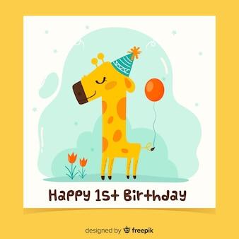 Modelo de cartão de aniversário sorridente girafa primeiro