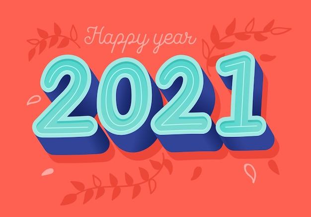 Modelo de cartão de ano novo 2021.