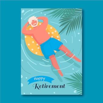 Modelo de cartão de aposentadoria desenhado à mão