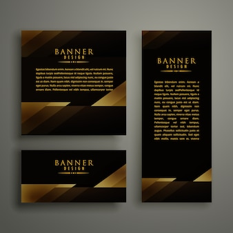 Modelo de cartão de bandeira de ouro dourado premium dourado