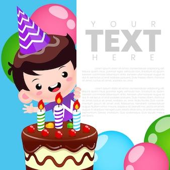Modelo de cartão de banner de convite de aniversário de menino fofo feliz