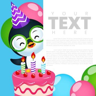 Modelo de cartão de banner de convite de aniversário fofo para festa de pinguins
