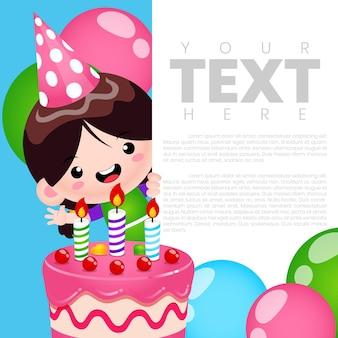 Modelo de cartão de banner de convite para festa de aniversário de linda garota
