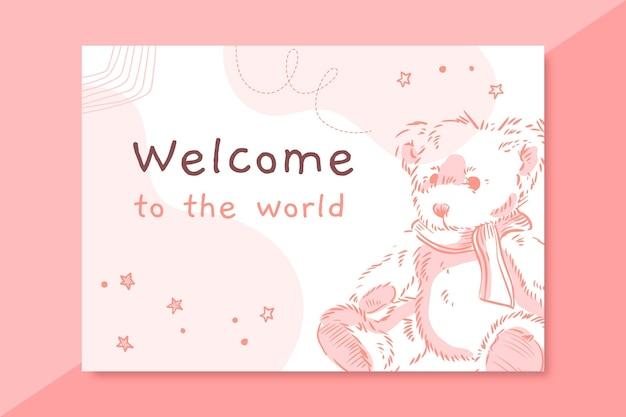 Modelo de cartão de bebê realista desenhado à mão