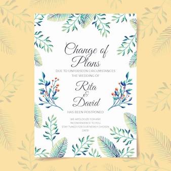 Modelo de cartão de casamento adiado aquarela