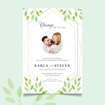 Modelo de cartão de casamento adiado com foto