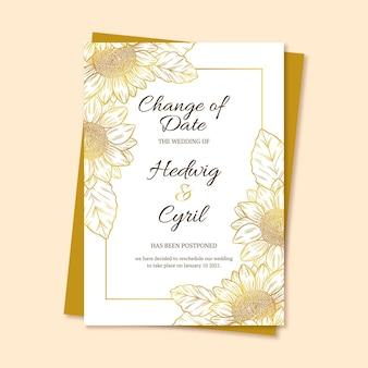 Modelo de cartão de casamento adiado mão desenhada