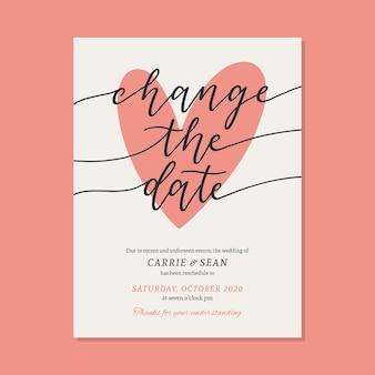 Modelo de cartão de casamento adiado tipográfico