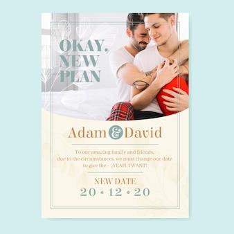 Modelo de cartão de casamento adiado