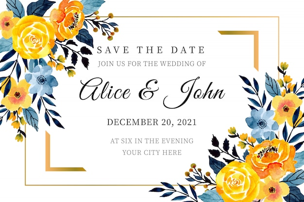 Modelo de cartão de casamento amarelo e azul com aquarela floral