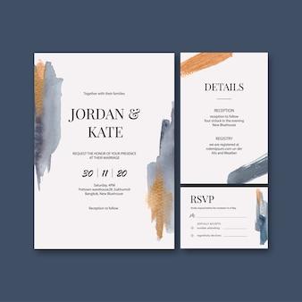 Modelo de cartão de casamento aquarela com pinceladas
