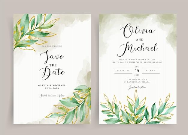 Modelo de cartão de casamento aquarela de folhas bonitas de ouro