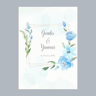 Modelo de cartão de casamento aquarela floral azul com moldura