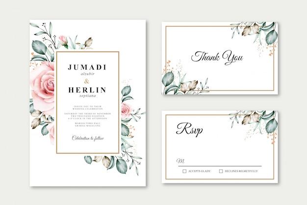 Modelo de cartão de casamento aquarela floral
