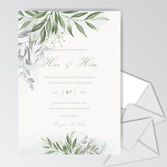 Modelo de cartão de casamento aquarela linda com folhagem