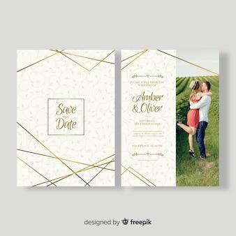 Modelo de cartão de casamento bonito com foto