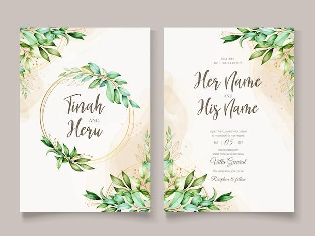 Modelo de cartão de casamento bonito folhas aquarela