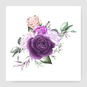 Modelo de cartão de casamento buquê floral