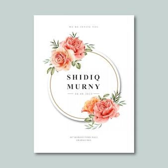 Modelo de cartão de casamento com aquarela de moldura grinalda