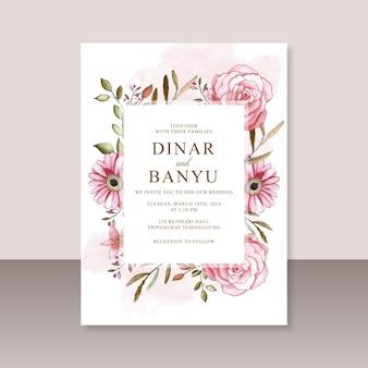 Modelo de cartão de casamento com aquarela floral pintada à mão