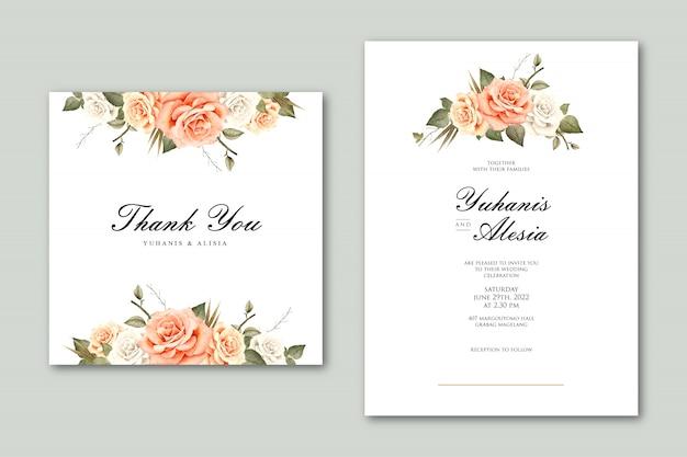Modelo de cartão de casamento com aquarela floral