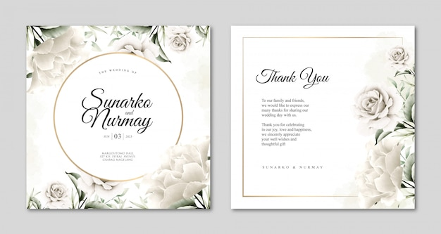 Modelo de cartão de casamento com bela aquarela floral