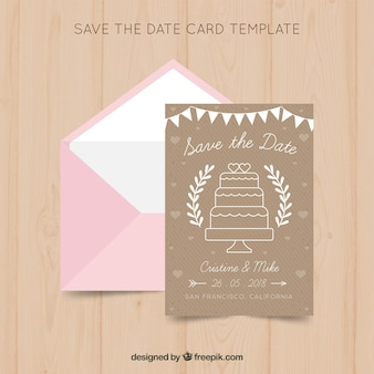 Modelo de cartão de casamento com bolo