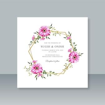 Modelo de cartão de casamento com borda geométrica e aquarela floral