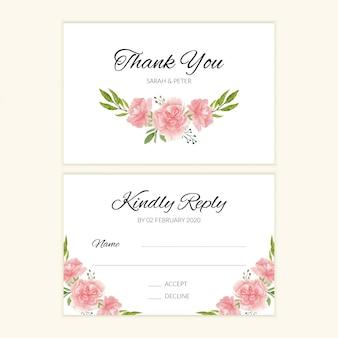 Modelo de cartão de casamento com buquê de flores em aquarela rosa
