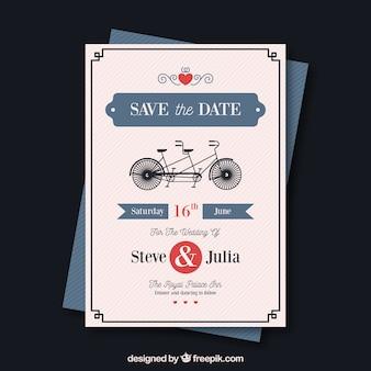 Modelo de cartão de casamento com bycicle retrô