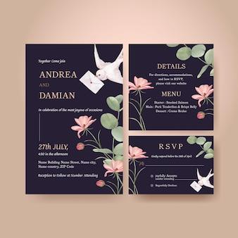 Modelo de cartão de casamento com conceito de flores cottagecore, estilo aquarela