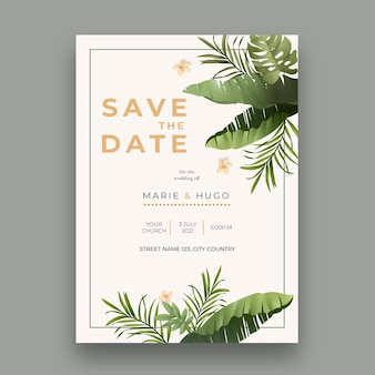 Modelo de cartão de casamento com design mínimo
