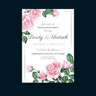 Modelo de cartão de casamento com elementos florais