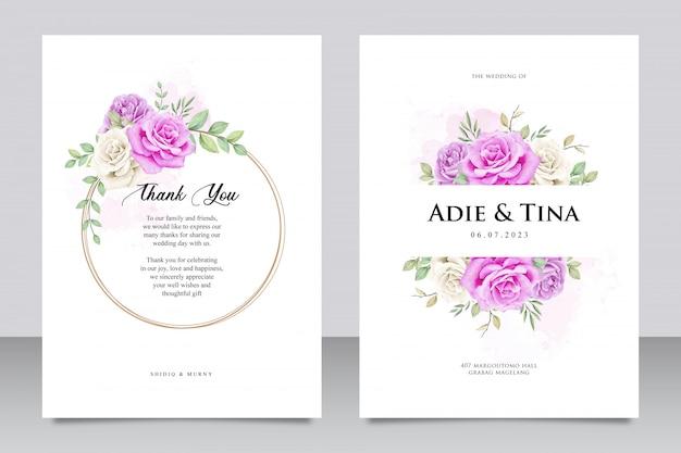Modelo de cartão de casamento com flor rosa roxa